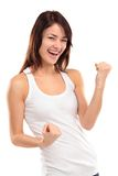 Winning success woman happy ecstatic celebrating being a winner. Dynamic energetic image of  female model isolated on white background waist up Royalty Free Stock Photo
