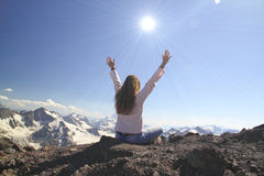 Winning success woman happy with her hands raised above the head Royalty Free Stock Photos