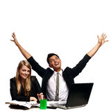 Winning team. Men and Woman with laptop Royalty Free Stock Image