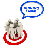 Winning team. The winning team with people on target circle and text bubble saying winning team Stock Photos