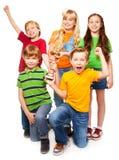 Winning team of 5 boys and girls Stock Image