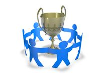 Winning team concept with team and gold cup 3d render illustration Royalty Free Stock Photo