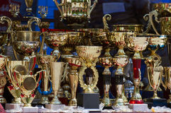 Winning trophies. Set of trophies for the winners Royalty Free Stock Photo