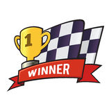 Winning Trophy And Checkered Flag Stock Image