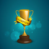 Winning trophy with ribbon for Cricket. Royalty Free Stock Photos