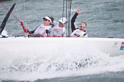 Winning women on quest for Olympic sailing gold. Royalty Free Stock Images
