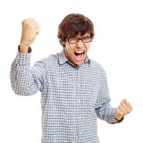Winning young man. Victory screaming young man in black glasses. Isolated on white background, mask included Royalty Free Stock Image