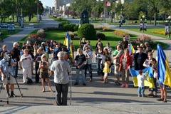 Winnipeg ουκρανικές κοινοτικές συναθροίσεις για το φυλακισμένο παραγωγό ταινιών στοκ εικόνα με δικαίωμα ελεύθερης χρήσης
