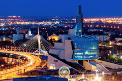 Winnipeg πανόραμα στο ηλιοβασίλεμα Στοκ Εικόνες