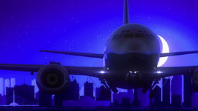 Winnipeg Canada Airplane Take Off Moon Night Blue Skyline Travel vector illustration