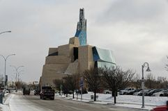 WINNIPEG, CANADA - 2014-11-18: Winter view on Canadian Museum for Human Rights . CMHR is a national museum in Winnipeg. Manitoba, located adjacent to the Royalty Free Stock Photos