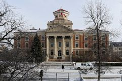 WINNIPEG, CANADA - 2014-11-19: Winter view on University of Manitoba Administration Building.  stock photography