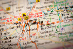 Winnipeg City on a Road Map Stock Images