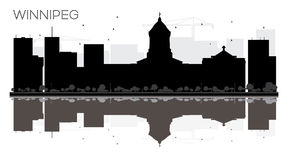Winnipeg City skyline black and white silhouette with reflection Stock Image