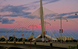 Winnipeg is gorgeous. Winnipeg's Riel Esplinade located at the Red River royalty free stock photos