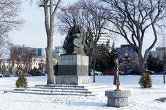 Winnipeg, Manitoba, Canada - 2014-11-21: Ukrainian place. Taras Shevchenko and Holodomor Genocide monuments on the royalty free stock photos