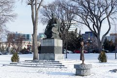 Winnipeg, Manitoba, Canada - 2014-11-21: Ukrainian place. Taras Shevchenko and Holodomor Genocide monuments on the. Grounds of Manitoba Legislature building stock photo
