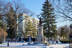 Winnipeg, Manitoba, Kanada - 2014-11-18: Pamiątkowy miejsce Aux Fran Ais De L ` ouest morts nalewa leur Patrie 1914-1918 - a zdjęcie royalty free