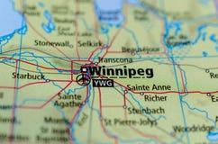 Winnipeg op kaart royalty-vrije stock afbeelding