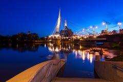 Winnipeg på natten Fotografering för Bildbyråer