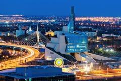 Winnipeg panorama på solnedgången royaltyfri foto