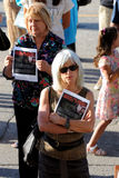 Winnipeg's Ukrainian community rallies for jailed filmmaker. August 31, 2015. Winnipeg, MB, Canada. Legislative building. The Ukrainian Canadian Congress Royalty Free Stock Photo