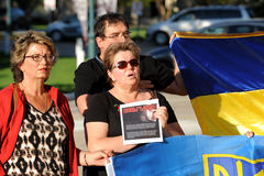Winnipeg's Ukrainian community rallies for jailed filmmaker. August 31, 2015. Winnipeg, MB, Canada. Legislative building. The Ukrainian Canadian Congress Stock Photos
