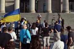Winnipeg's Ukrainian community rallies for jailed filmmaker. August 31, 2015. Winnipeg, MB, Canada. Legislative building. The Ukrainian Canadian Congress Royalty Free Stock Images