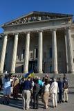 Winnipeg's Ukrainian community rallies for jailed filmmaker. August 31, 2015. Winnipeg, MB, Canada. Legislative building. The Ukrainian Canadian Congress Royalty Free Stock Photos