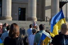Winnipeg's Ukrainian community rallies for jailed filmmaker. August 31, 2015. Winnipeg, MB, Canada. Legislative building. The Ukrainian Canadian Congress Stock Image