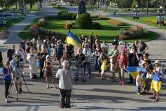 Winnipeg's Ukrainian community rallies for jailed filmmaker. August 31, 2015. Winnipeg, MB, Canada. Legislative building. The Ukrainian Canadian Congress Stock Photography