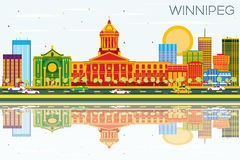 Winnipeg Skyline with Color Buildings, Blue Sky and Reflections. Vector Illustration. Business Travel and Tourism Concept with Modern Architecture. Image for Vector Illustration