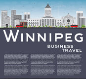Winnipeg Skyline with Gray Buildings and Copy Space. Vector Illustration. Business Travel and Tourism Concept with Modern Buildings. Image for Presentation Stock Photos