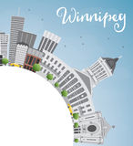 Winnipeg Skyline with Gray Buildings and Copy Space. Stock Photo