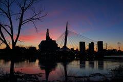 Winnipeg solnedgång på gafflarna Arkivfoton
