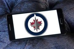 Winnipeg voyage en jet le logo d'équipe de hockey de glace Photo stock