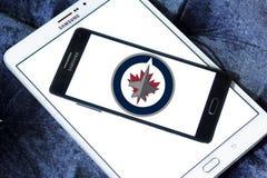 Winnipeg voyage en jet le logo d'équipe de hockey de glace Image stock
