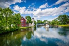 The Winnipesaukee River, in Lakeport, Laconia, New Hampshire. Stock Photo