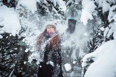 Winnter girl and snow fir tree Stock Photo