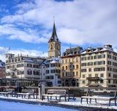 Winntertime-Ansicht in Zürich, die Schweiz Lizenzfreies Stockbild