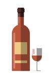 Wino alkohol i butelka pijemy szklanej filiżanki wektorową płaską ikonę Zdjęcie Stock