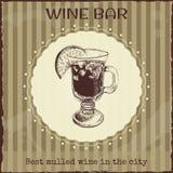 Wino baru znak i reklama szablon Fotografia Stock