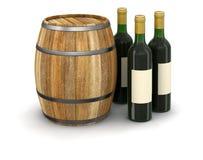 Wino baryłka i butelka (ścinek ścieżka zawierać) Obrazy Royalty Free