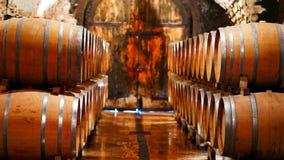 Wino baryłki w wino lochu obraz stock