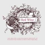 Wino baryłka z winogrono sztandarem i wiankiem Zdjęcia Royalty Free