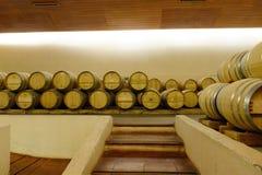 Wino baryłki przy wytwórnii win ` Concho y Tor ` Obrazy Stock