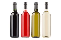 Wino butelek kolekci różni kolory odizolowywający na białym tle, wyśmiewają up Fotografia Stock