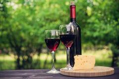 Wino butelka i szkło Fotografia Royalty Free