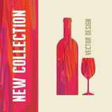Wino butelka i szkło - Abstrakcjonistyczna ilustracja Obrazy Royalty Free