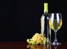 Wino butelka i szkło Biały wino z Świeżymi winogronami Zdjęcie Royalty Free
